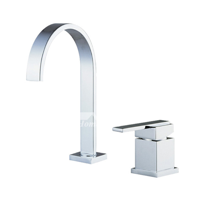 Widespread Brass Chrome 2 Hole Gooseneck Bathroom Faucet Silver