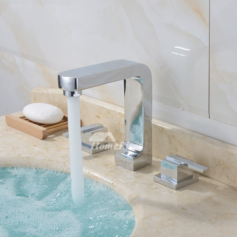 Square Bathroom Faucet 3 Hole Silver Brass Widespread Chrome