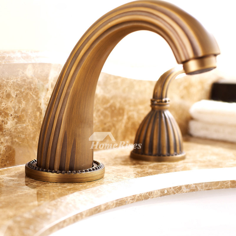 Hole Bathroom Faucet Antique Brass Two Handles Antique Brushed