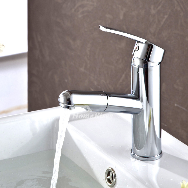 Pull Out Bathroom Faucet Silver Chrome Brass Single Handle 1 Hole