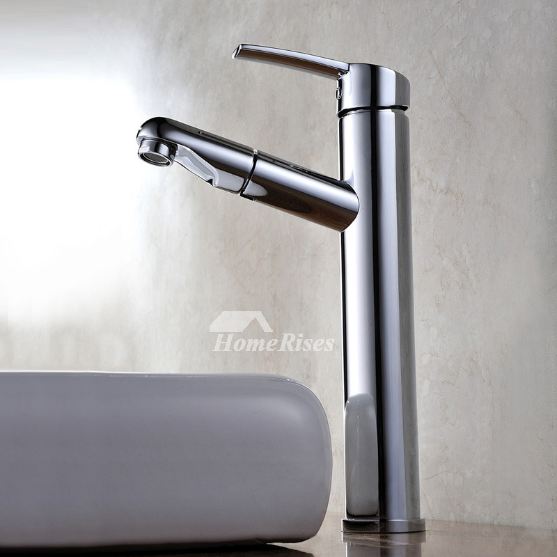Pull Out Bathroom Faucet Silver Chrome Brass Single Handle