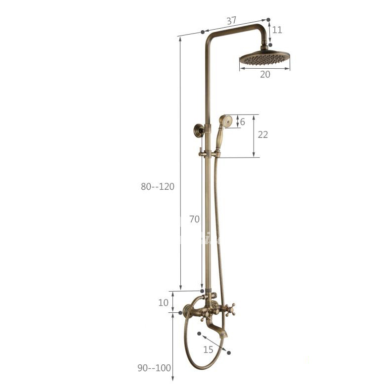 Gold Shower Faucet Carved Antique Brass Wall Mount Cross Handle