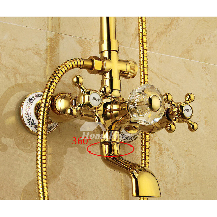 Luxury Crystal Rotatable Discount Shower Faucets Bathroom Gold