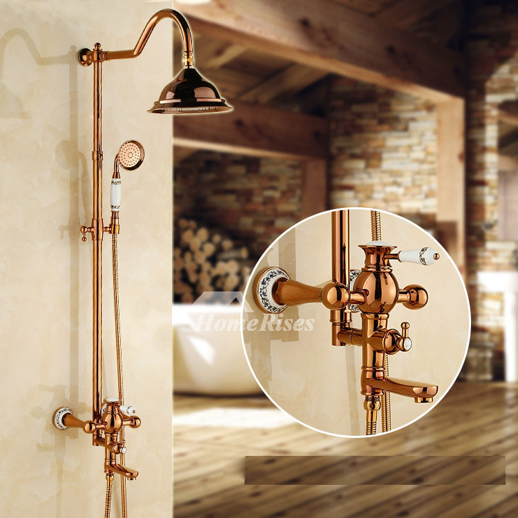 Discount Shower Faucets Rose Gold Ceramic Wall Mount Brass