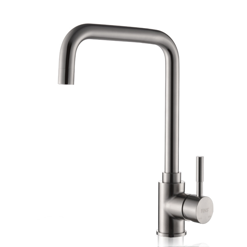 Square kitchen faucet brushed silver stainless steel - Stainless steel bathroom fixtures ...