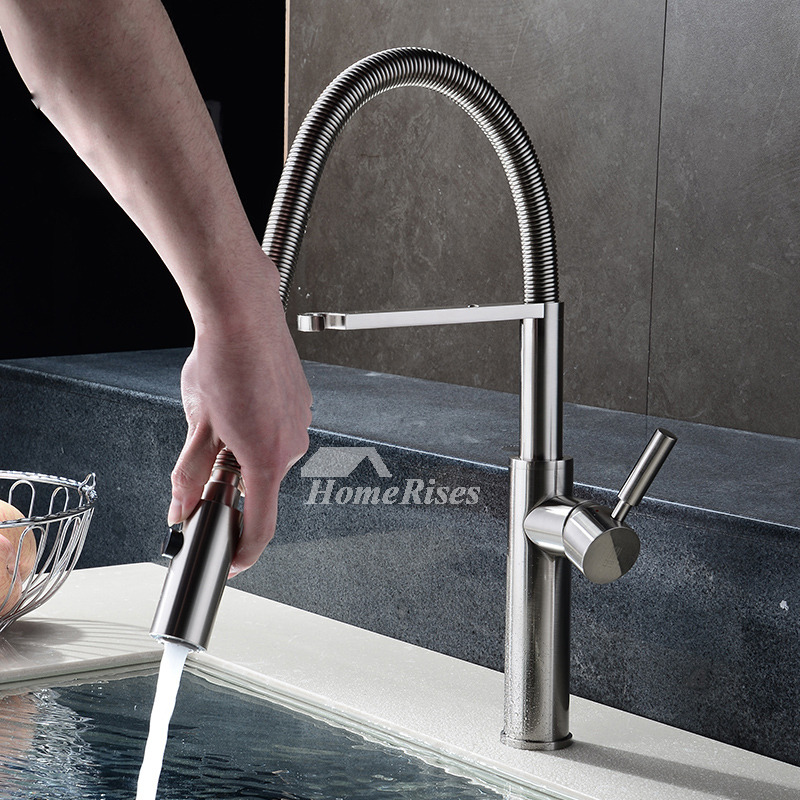 Brushed Nickel Kitchen Faucet Gooseneck Pull Out Spray Silver