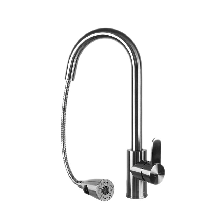 Polished Nickel Kitchen Faucet Gooseneck Stainless Steel Pull Out