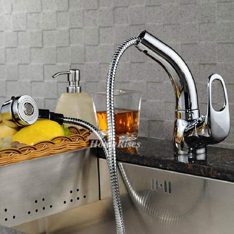Pull Out Spray Kitchen Faucet Chrome Brass Silver Single Hole