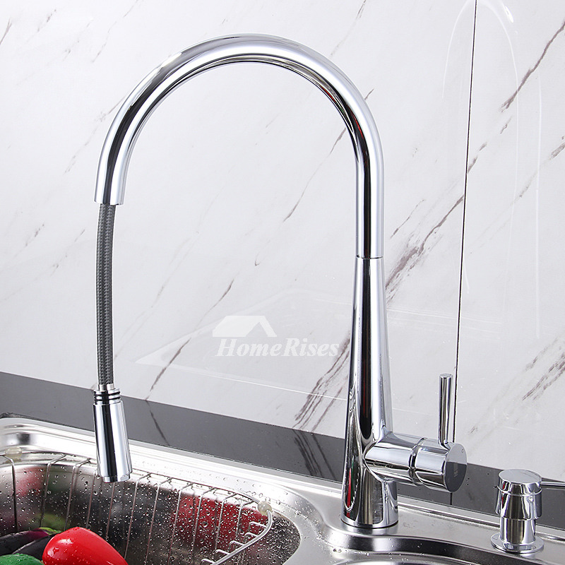Kitchen Faucet With Sprayer Pull Out Gooseneck Brass Chrome