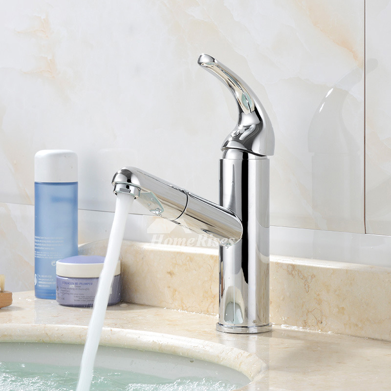 Silver Bathroom Faucets Chrome Brass Single Handle Pull Out