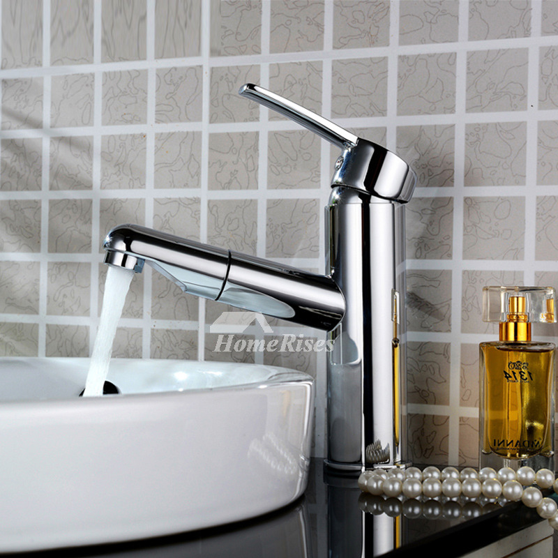 Pull Out Bathroom Faucet Silver Single Handle 1 Hole Brass Chrome