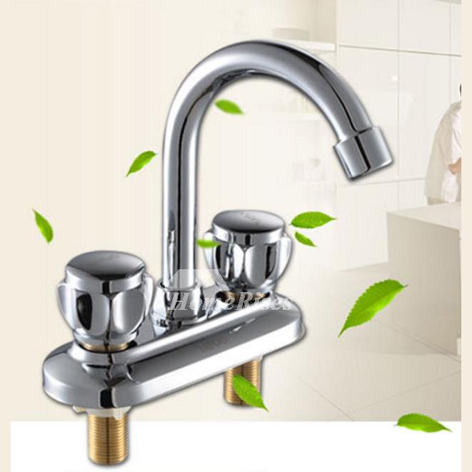 2 Handle Kitchen Faucet Silver Brass Gooseneck Centerset Chrome