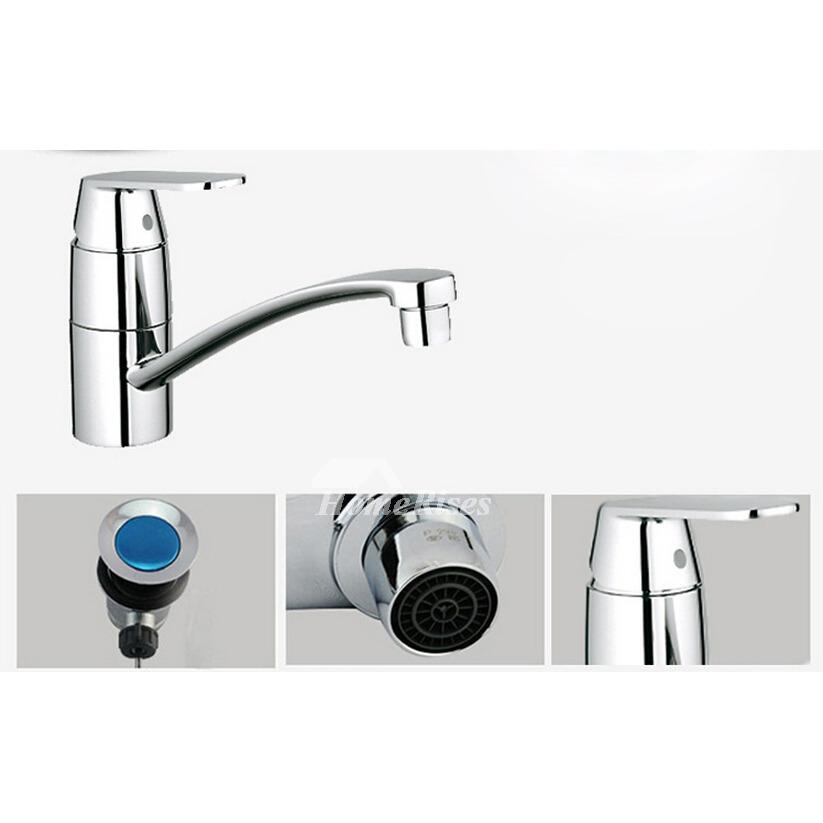 Single Handle Zinc Alloy Silver Chrome Discount Bathroom Faucets