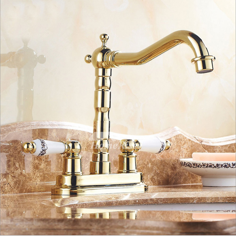 luxury two handles centerset bathroom faucet unique polished. Black Bedroom Furniture Sets. Home Design Ideas