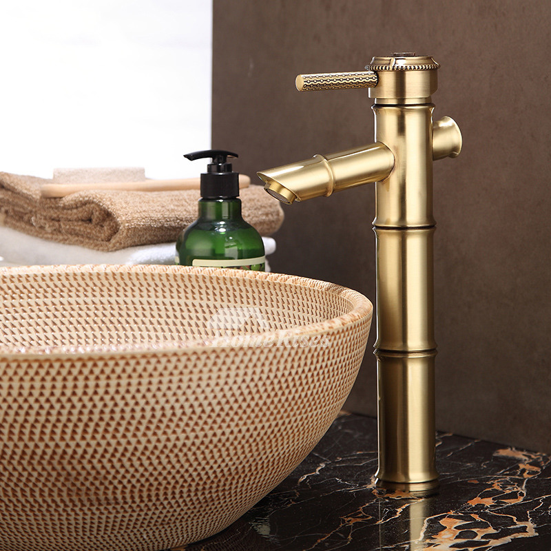 Polished Brass Bathroom Faucet Bamboo Shaped Single Handle Gold