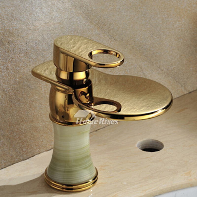 Polished Brass Bathroom Faucet Single Handle Marble Centerset