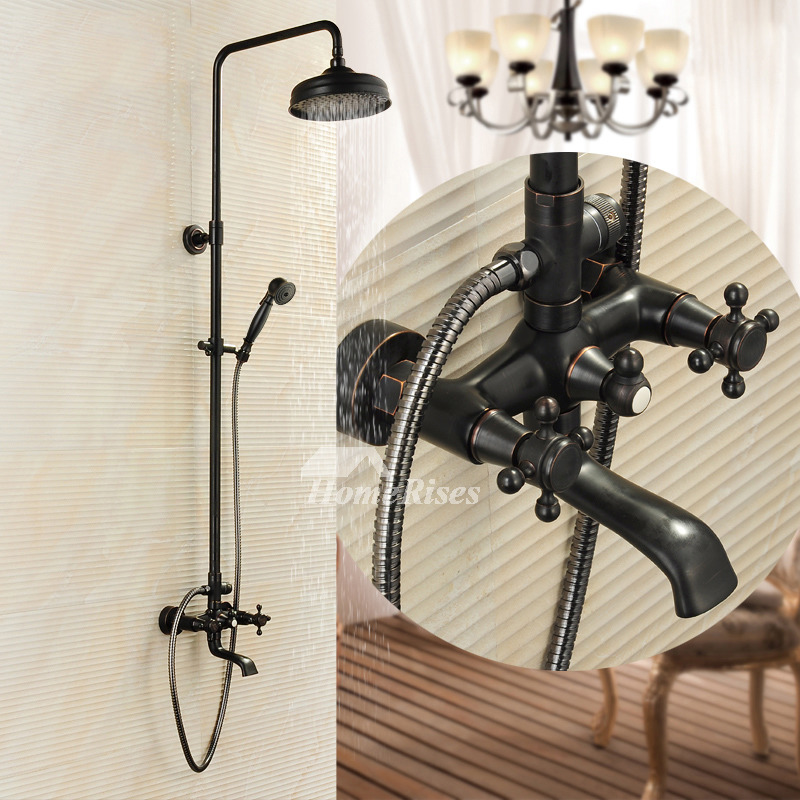 Black Shower Fixtures Oil Rubbed Bronze Brass Wall Mount