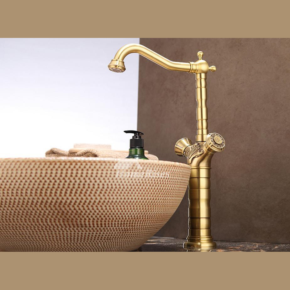 Polished brass bathroom faucet centerset 2 handle gold vessel for Polished gold bathroom faucets