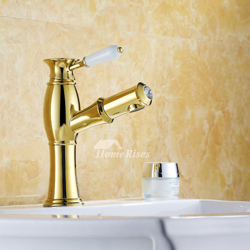 Bathroom Faucets Polished Brass Pull Out Sprary Gold
