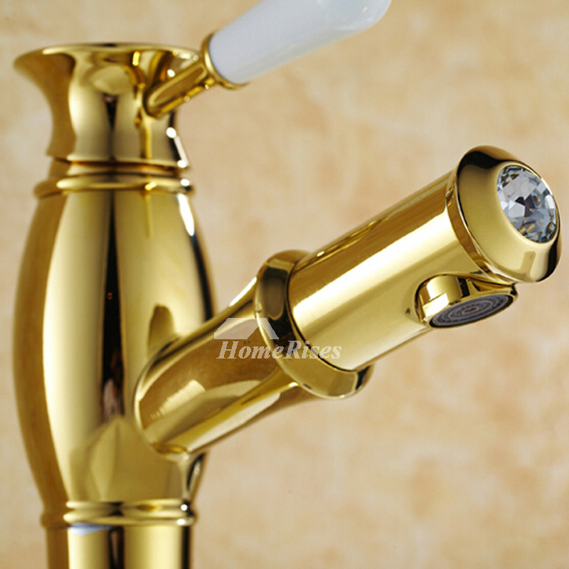 Discount bathroom faucets polished brass pull out sprary gold for Polished gold bathroom faucets