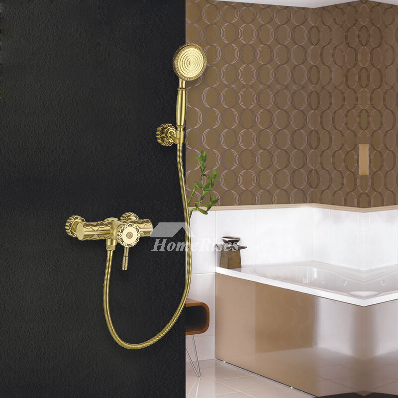 Brass Bath Faucet Polished Gold Carved Single Handle Bathroom