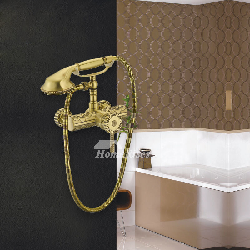 Luxury Clawfoot Gold Wall Mount Tub Faucet Orb Polished