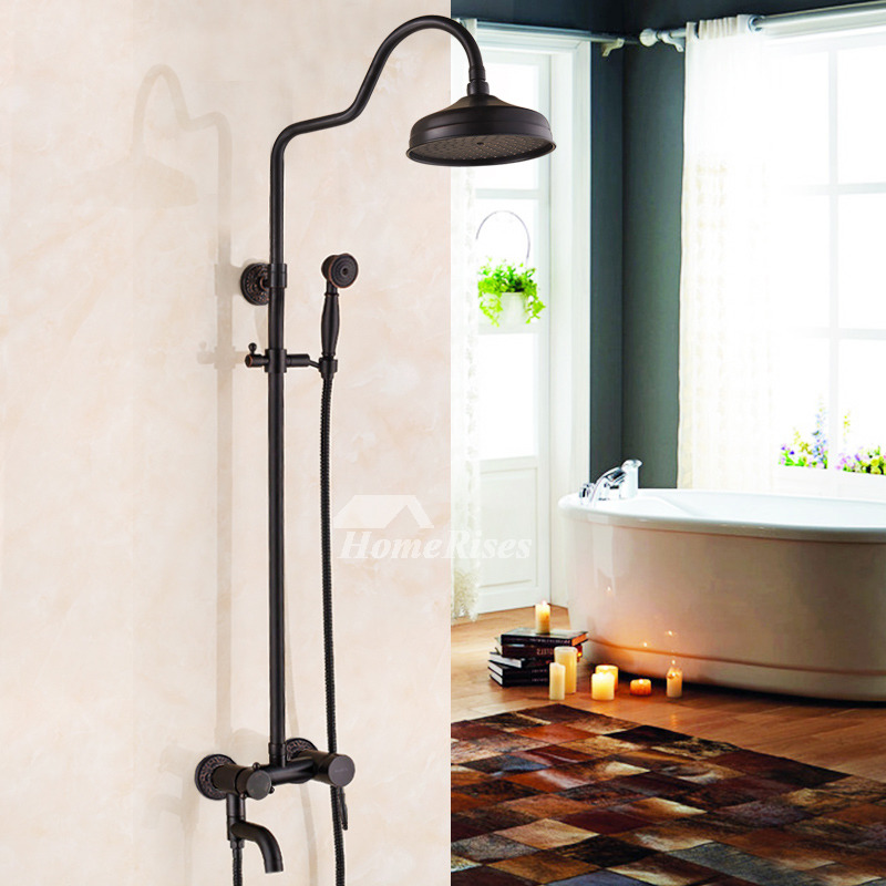 Bathroom Shower Faucets Wall Mount Oil-Rubbed Bronze Black Bar
