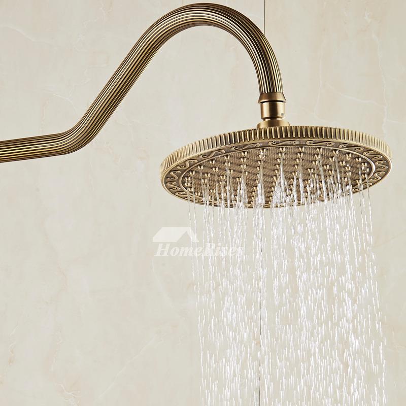 Designer Single Handle Shower Faucet Wall Mount Antique Brass