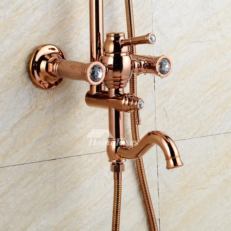Exposed Shower System Rose Gold Wall Mount Single Handle