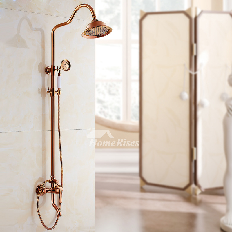 Single Handle Shower Faucet Rose Gold Wall Mount Smooth For Sale