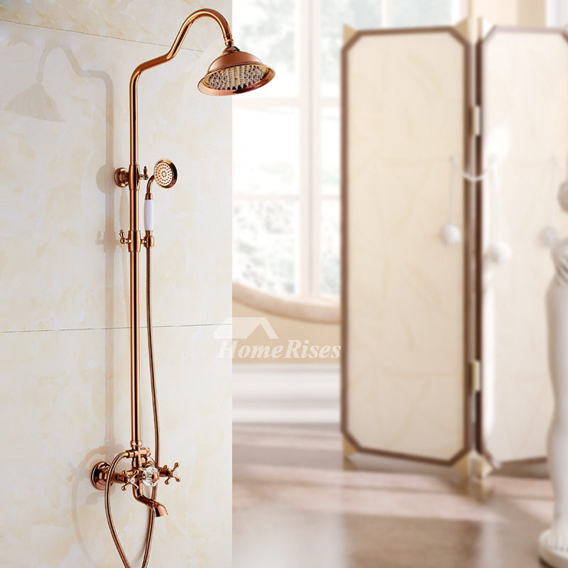 Bathroom Shower Faucets Rose Gold 2 Handle Wall Mount Brass