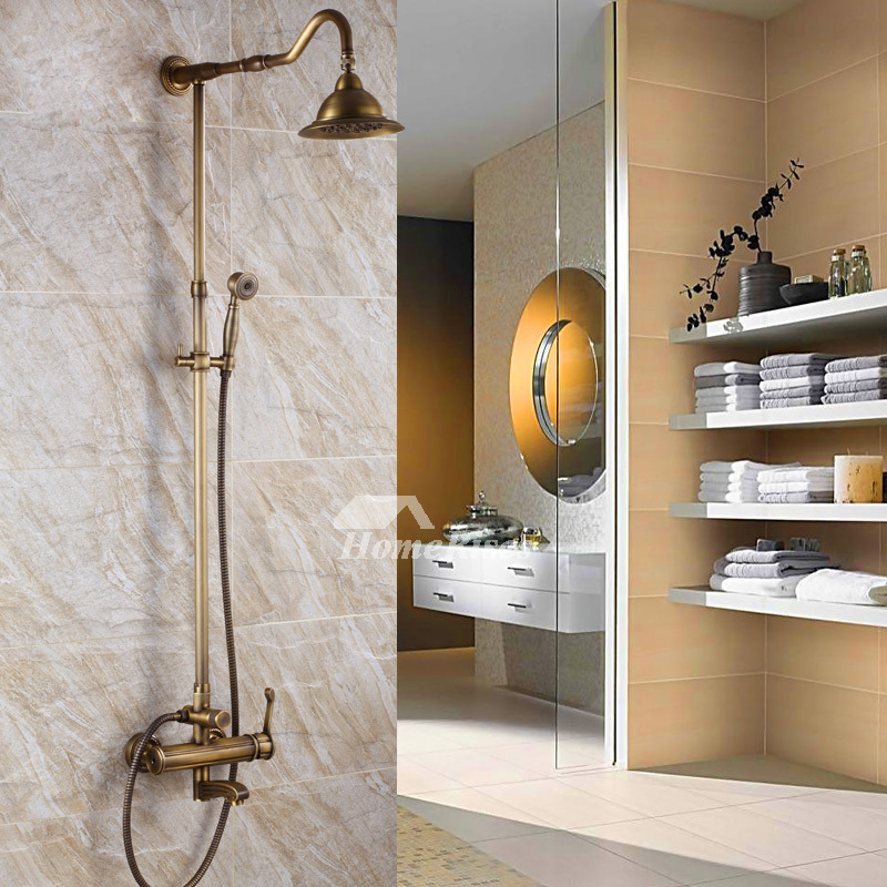 Exposed Shower Faucet Antique Brass Single Handle Gold