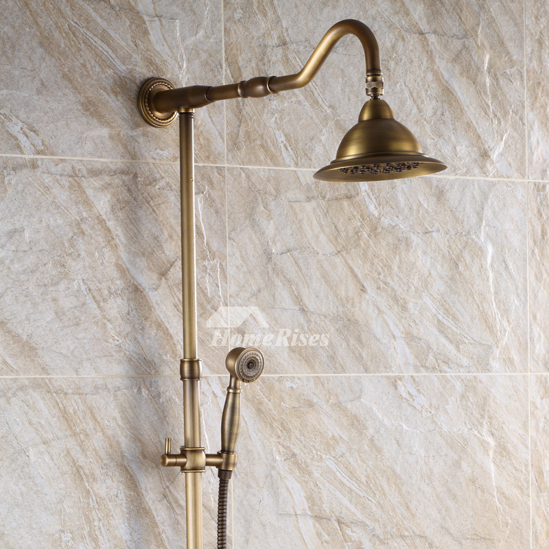 Shower Faucet Antique Brass Single Handle Gold Bathroom