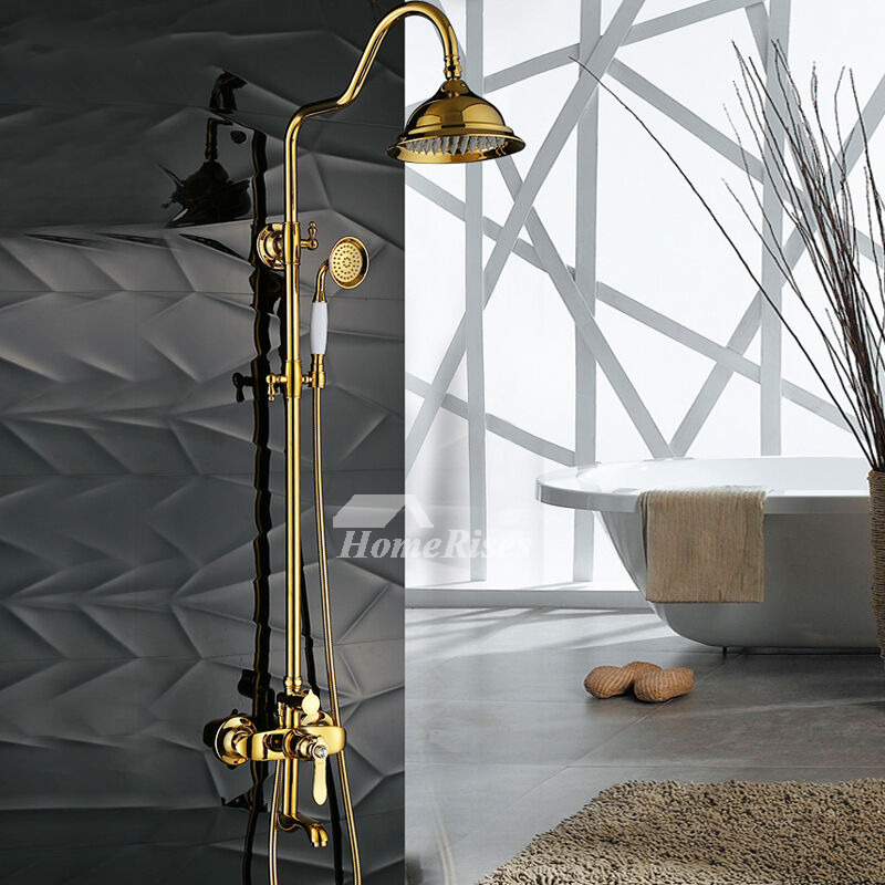 Luxury Polished Brass Wall Mount Gold Outdoor Shower Fixtures