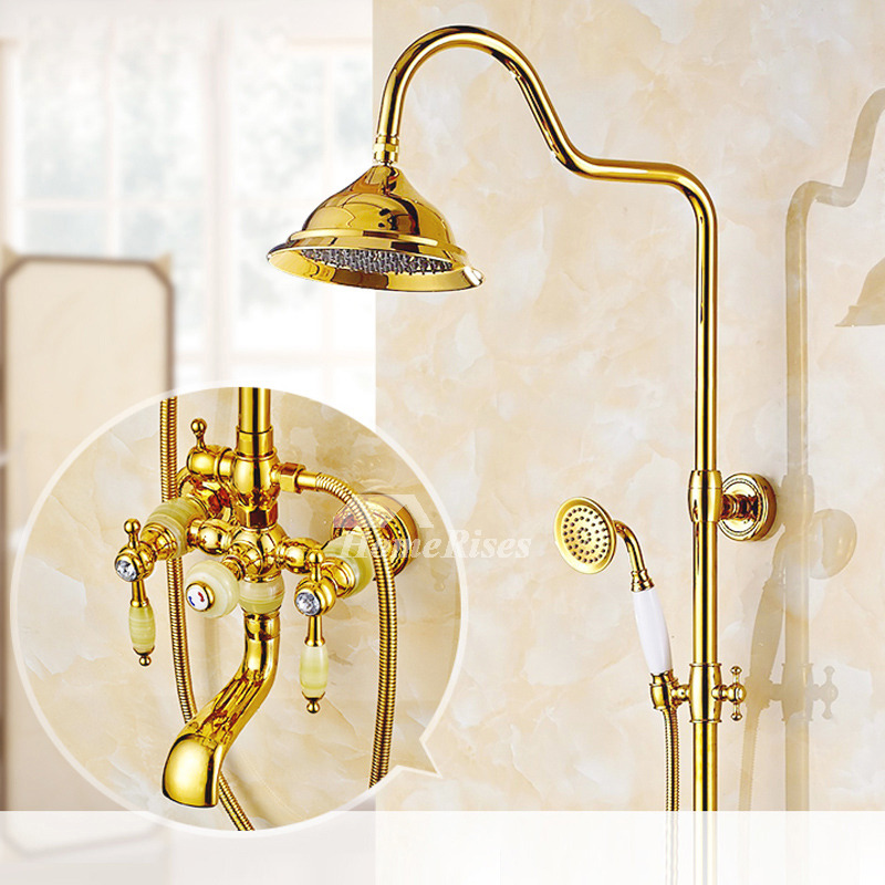 Handle Shower Faucet Polished Brass Gold Wall Mount Rain Shower