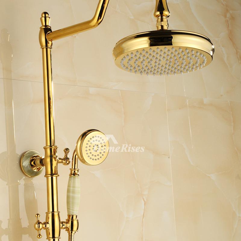 Outdoor Shower Fixtures Polished Brass Gold 2 Handle Bathroom