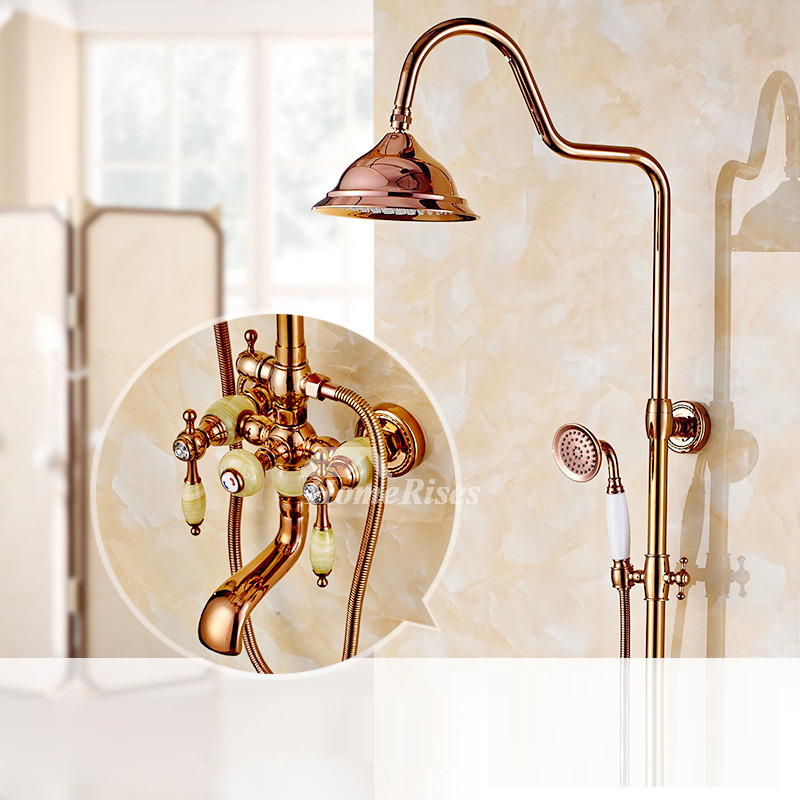 Designer Rose Gold Wall Mount 2 Handle Bathroom Shower Heads And Faucets