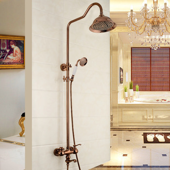 Rose Gold Best Shower Faucets Wall Mount Cross Handle Smooth
