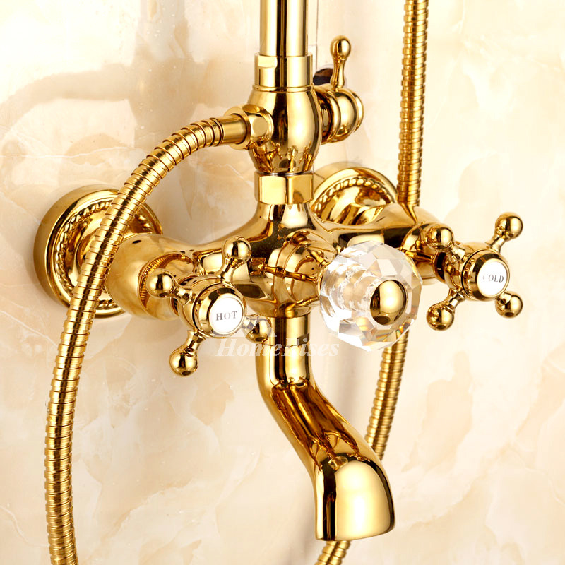 Shower Systems Polished Brass Gold Wall Mount Cross Handle