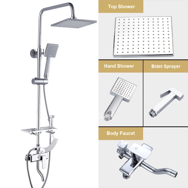 Chrome Brass Bathroom Mixer Shower Round or Square Hand Held Head