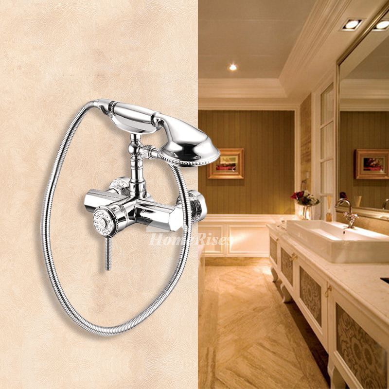 Clawfoot Tub Faucet Silver Chrome Carved Single Handle