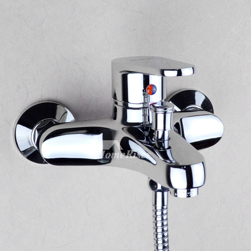 wall mount tub faucet with handheld shower. Bathtub Faucet With Handheld Shower Chrome Silver Wall Mount