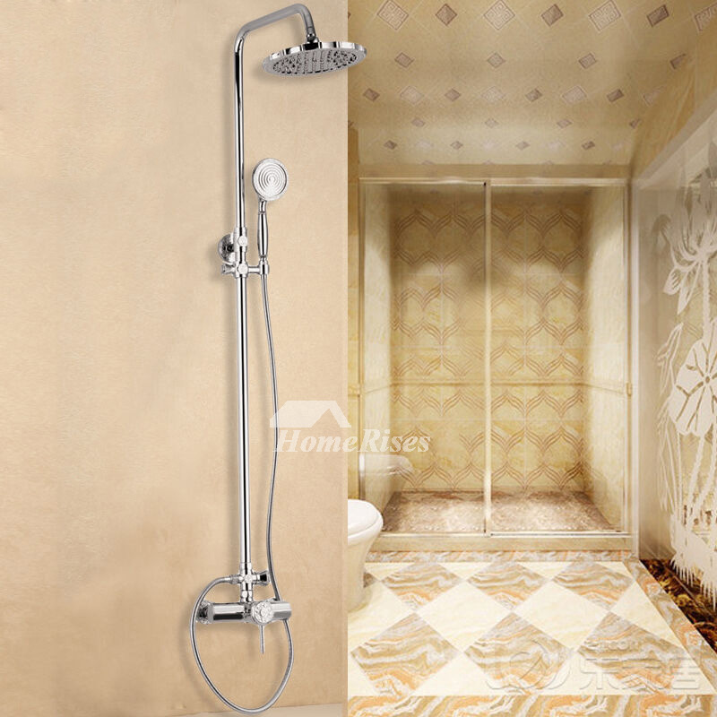 Brass Shower Fixtures Silver Wall Mount Smooth Single Handle Carved