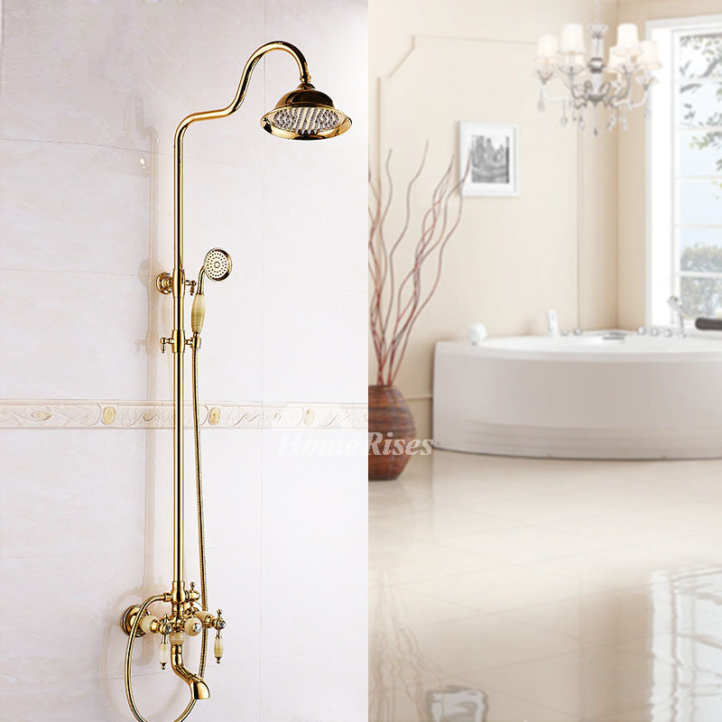 Gold Shower Faucet Wall Mount Polished Brass 2 Handle Bathroom