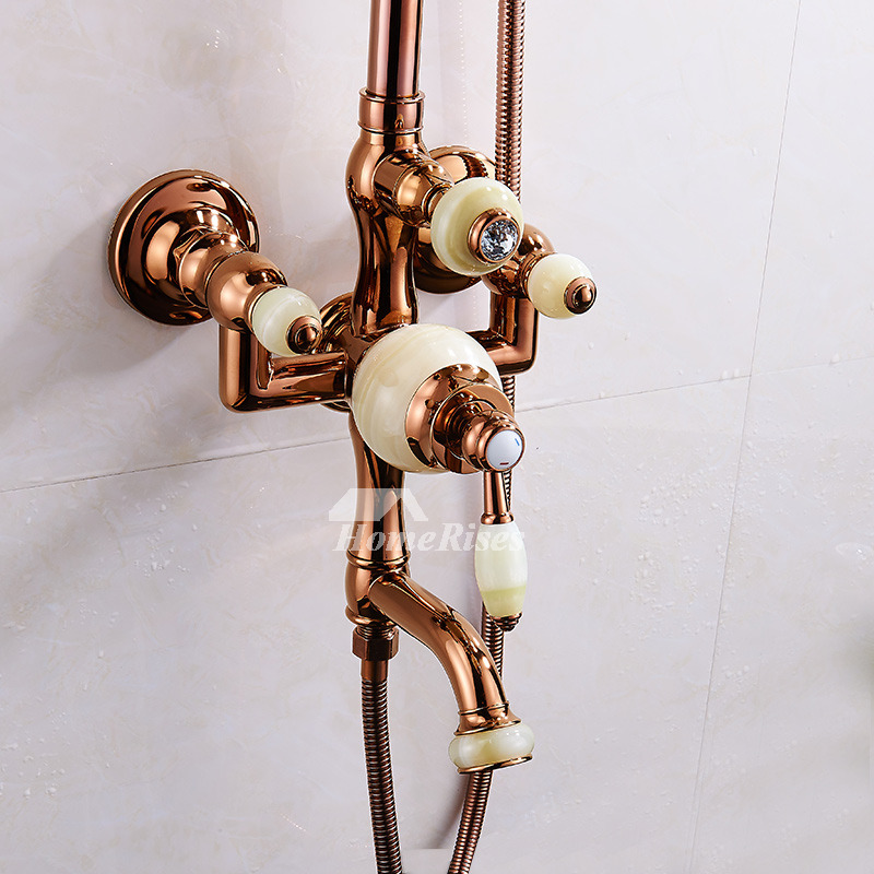 Exposed Shower Faucet Rose Gold Single Handle 8 Inch Bathroom