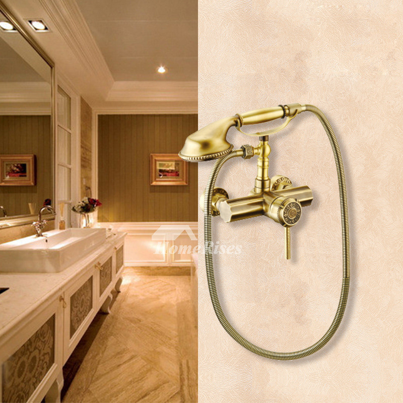 Handheld Shower Head For Bathtub Faucet Antique Brass Gold