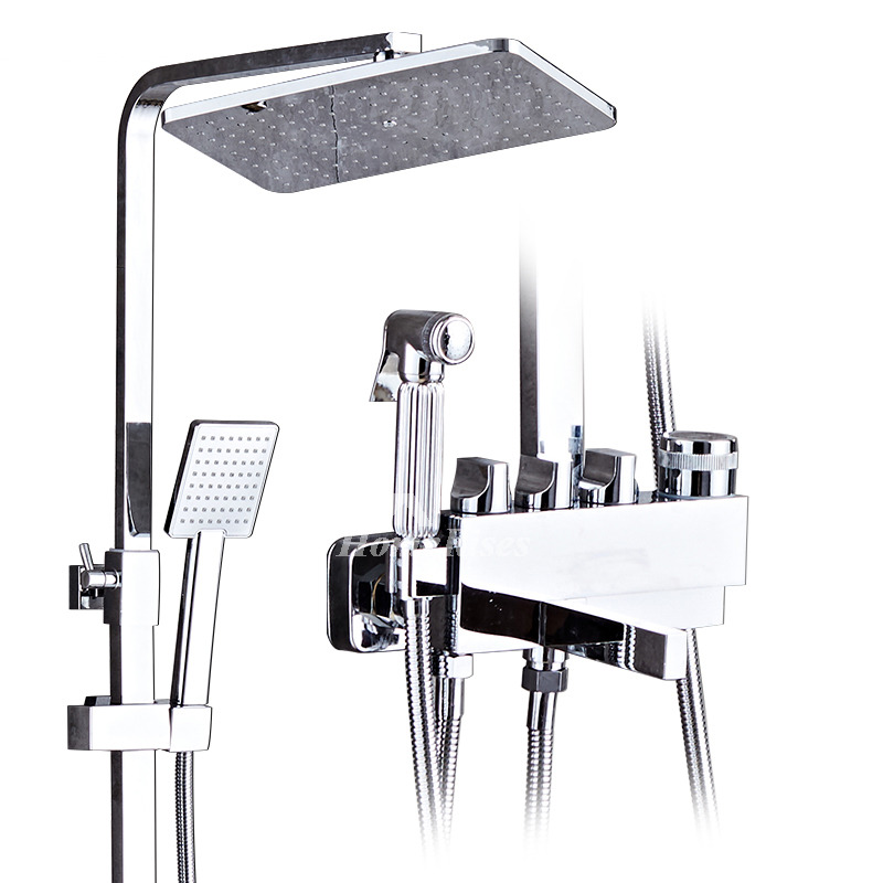 Shower Wall Faucet Silver Chrome 8 Inch Square Wall Mount Bathroom