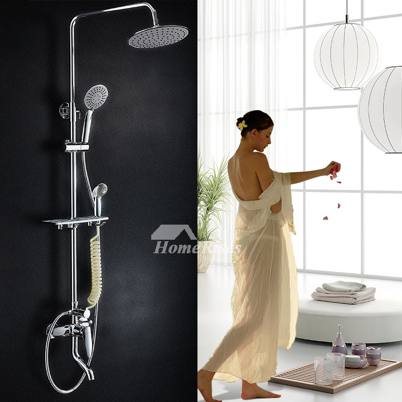 Shower Systems With Body Sprays Wall Mount Brass Chrome Silver