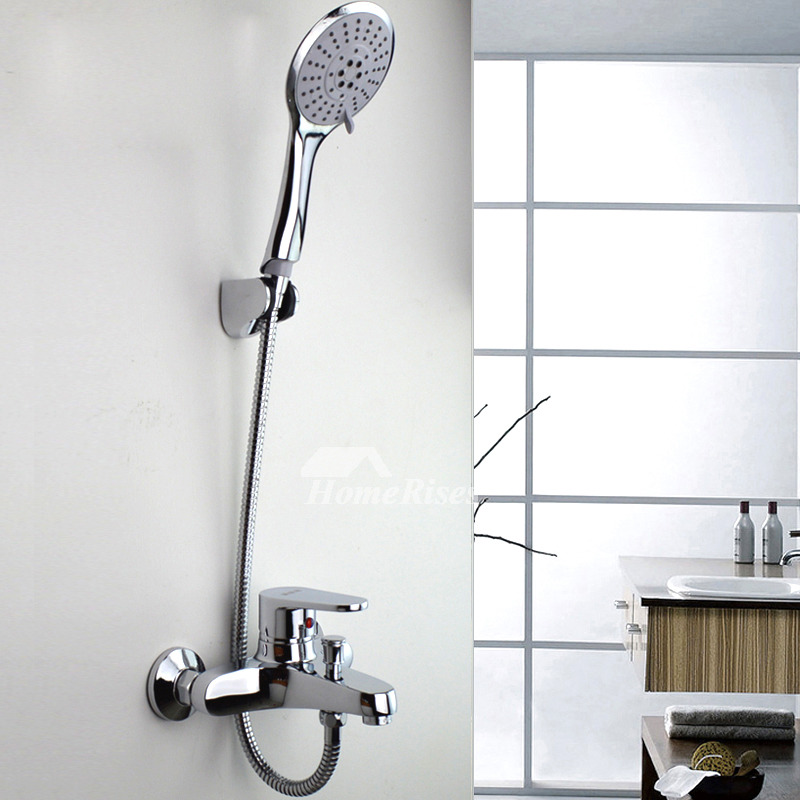 Bathtub Shower Faucet Wall Mount Brass Chrome Single Handle Silver