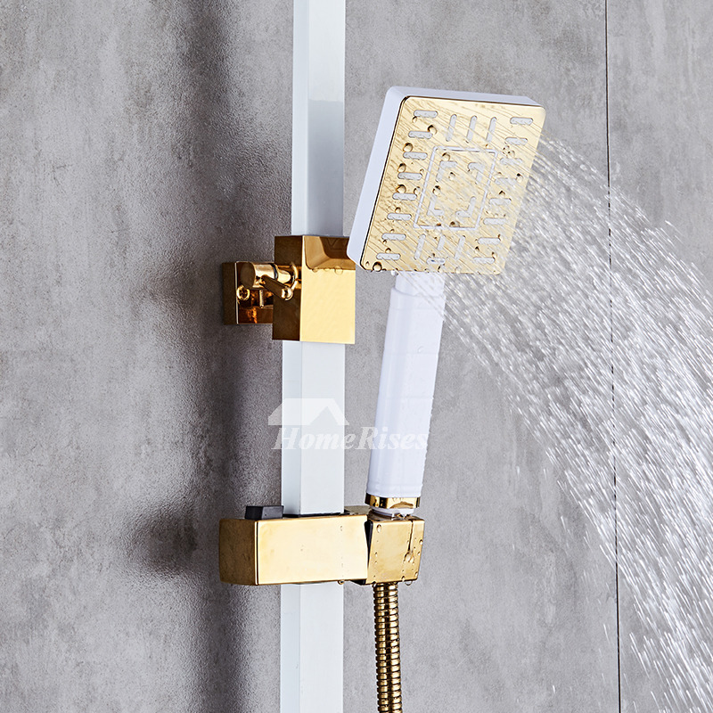 Modern Shower Faucets Wall Mount Painting White Sidespray